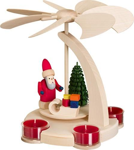 Seiffener Volkskunst eG Bogenpyramide klein Weihnachtsmann mit Schlitten