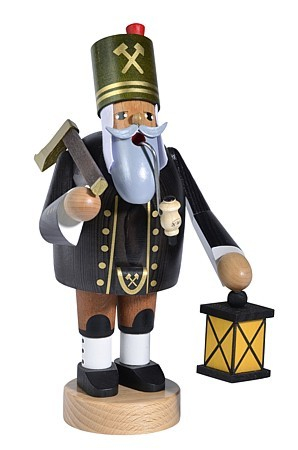incense smoker, miner with axe and lantern