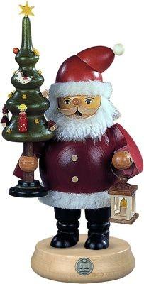 Kleinkunst Müller Räuchermann Weihnachtsmann mit Baum, mittelgroß