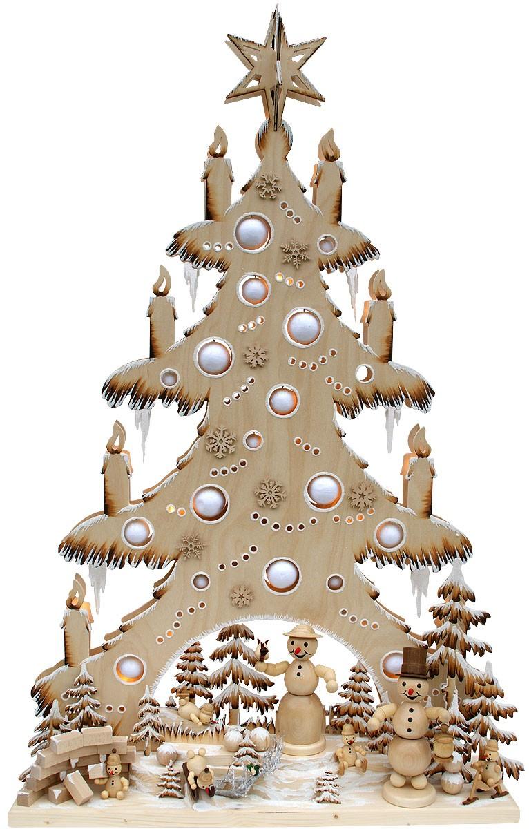 RATAGS Holzdesign 3D-Schwibbogen Riesentanne Schneemannland, für Innen