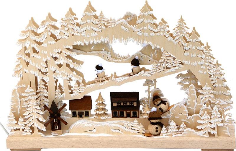 RATAGS Holzdesign 3D-Schwibbogen klein, Winterdorf