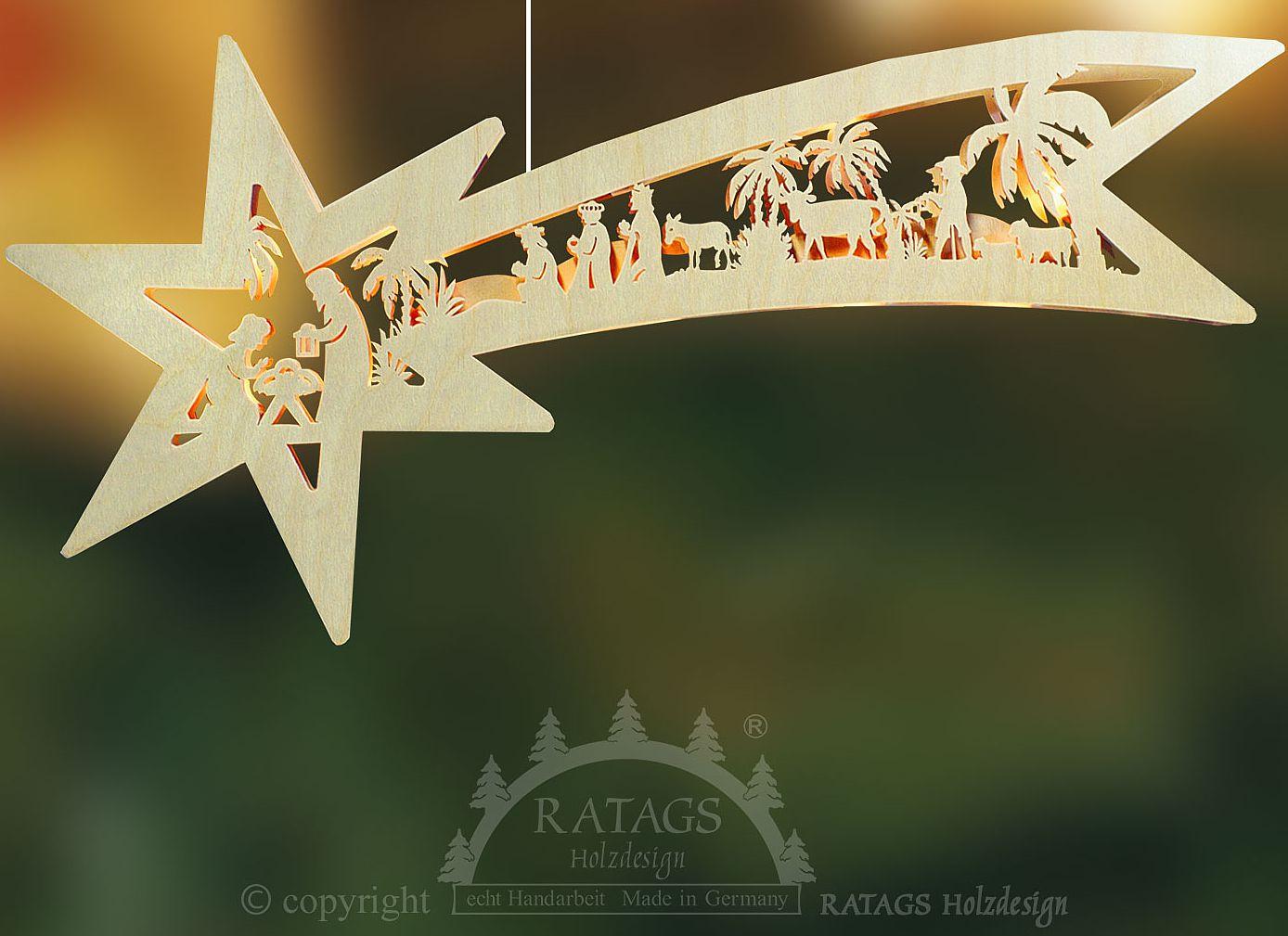 Ratags Beleuchtetes Fensterbild Sternschweif, Geburt Christi, 10tlg. Bel.