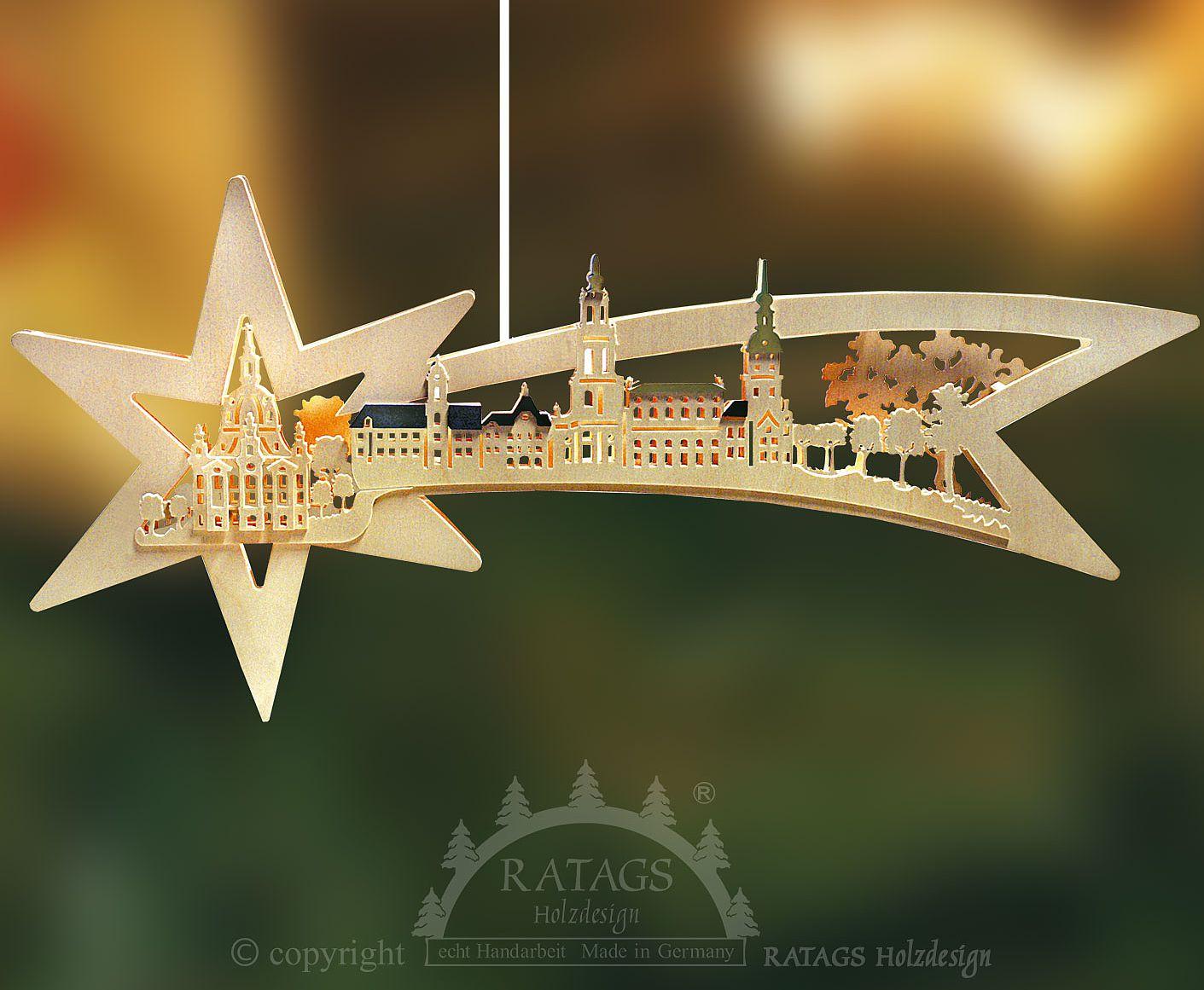 Ratags Beleuchtetes Fensterbild Sternschweif, Dresden, farbliche Dächer