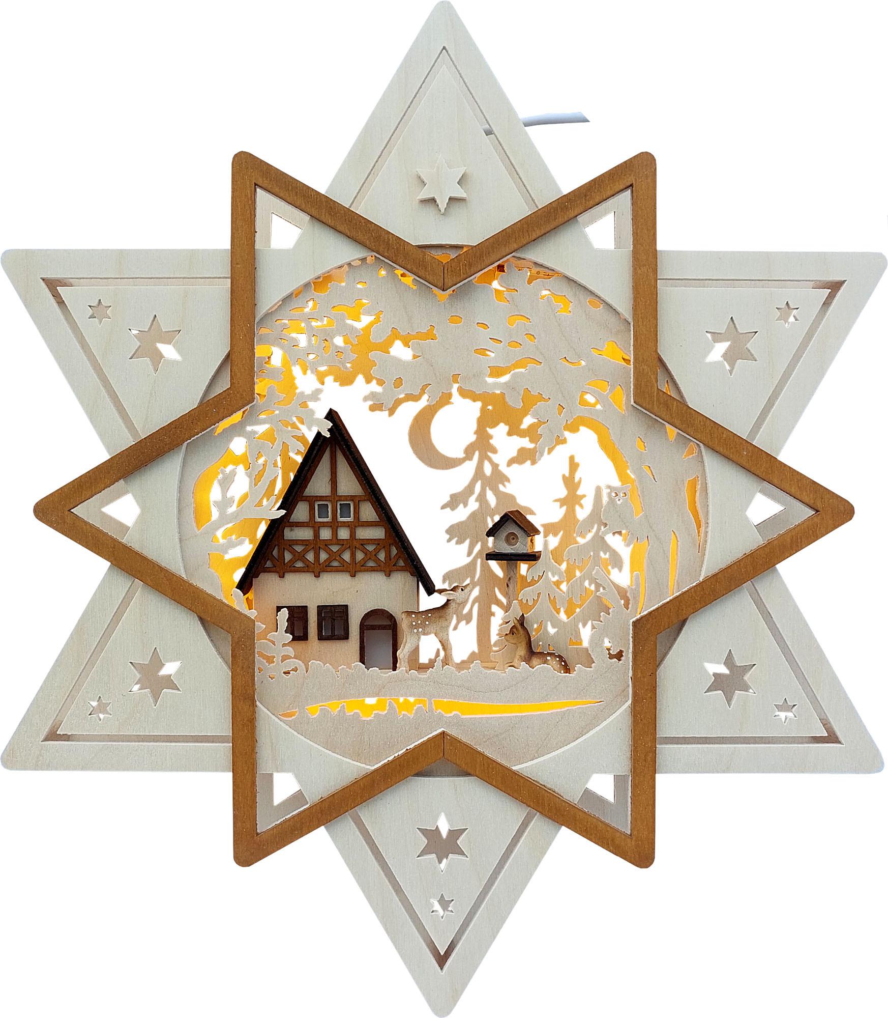 RATAGS Beleuchtetes Fensterbild Stern mit Haus, Wald und Rehen, LED