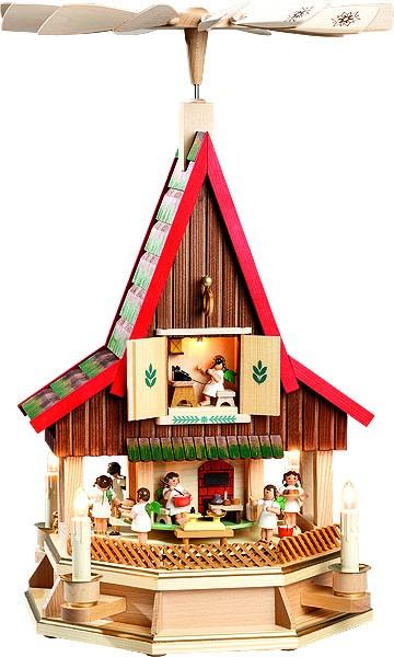 Richard Glässer Adventshaus, Engelbäckerei, elektrisch beleuchtet