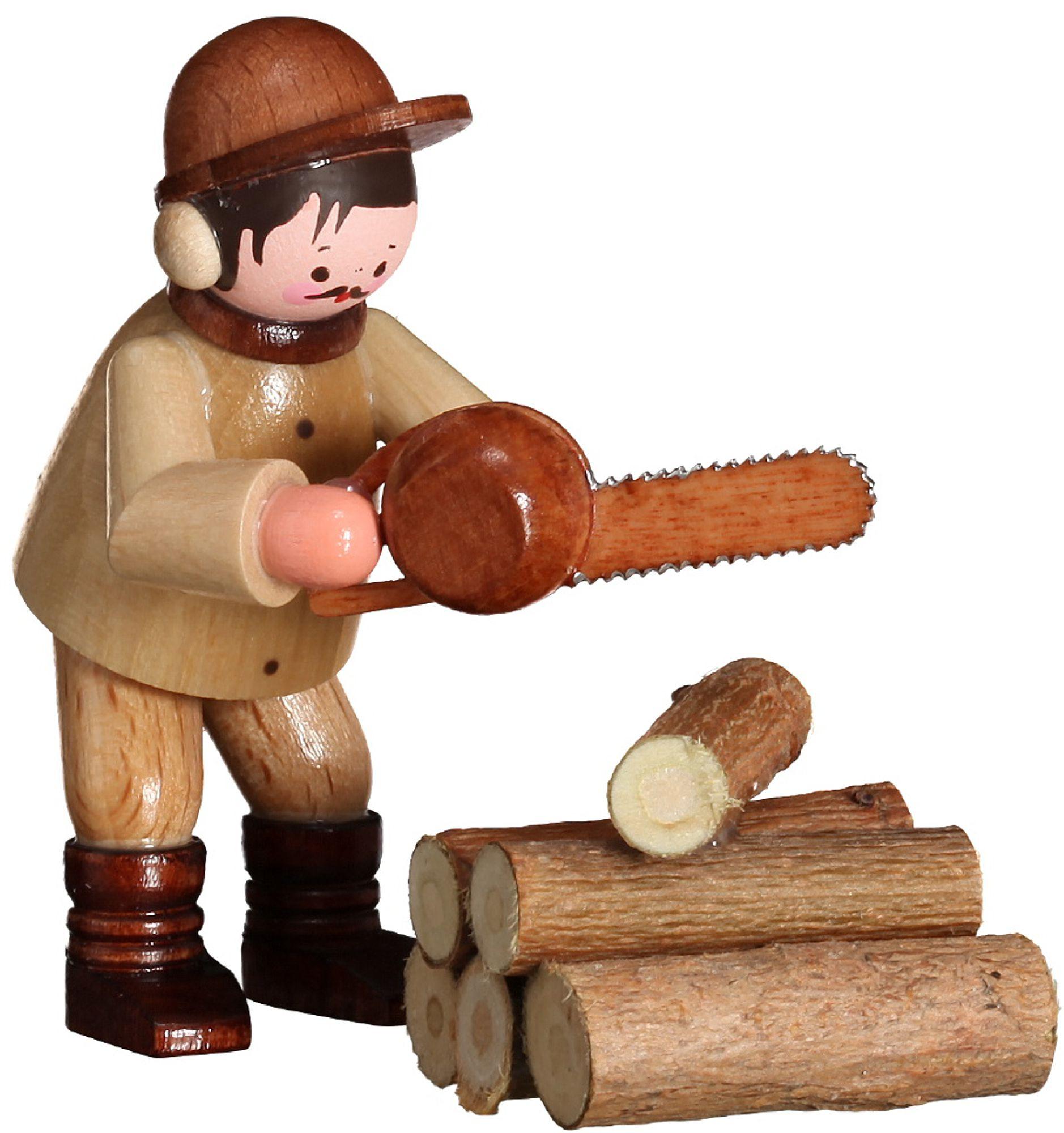 Romy Thiel Kettensäger mit Holzstämme - natur