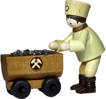 miner with wagon, natural