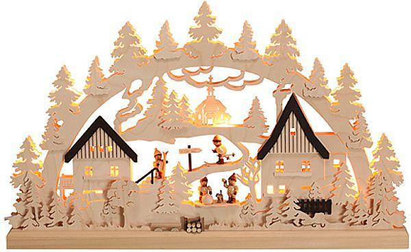 Romy Thiel Schwibbogen indirekte Beleuchtung - Dorf mit Winterkindern