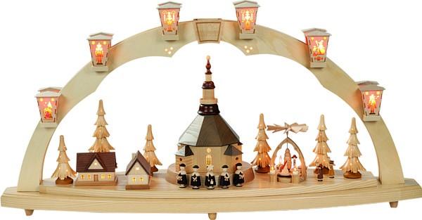 richard gl sser schwibbogen seiffener kirche mit pyramide f r 708 60. Black Bedroom Furniture Sets. Home Design Ideas