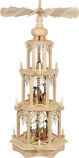 gothic pyramid, simple design - Nativity, electrical, 3-storeyed