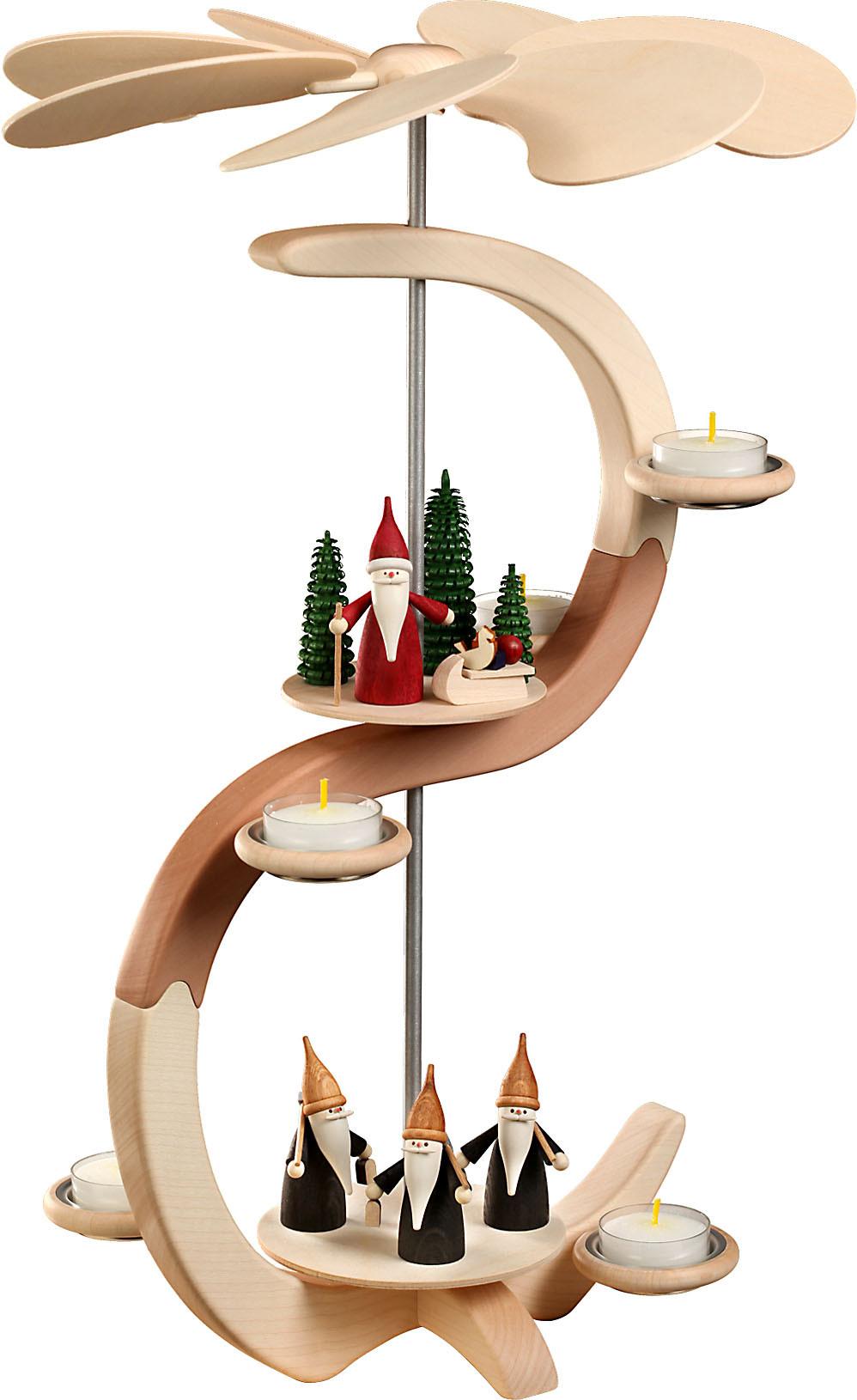 Seiffener Volkskunst Pyramide S-Form, Bergwichtel und Weihnachtswichtel
