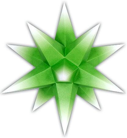 Marienberger Adventsstern - grüner Kern mit weißer Spitze