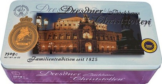 Dresdner Christstollen - Rosinenstollen in Schmuckdose Semperoper