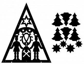 Laubsägevorlage doppelte Lichterecke Bergmänner mit Sternwappen