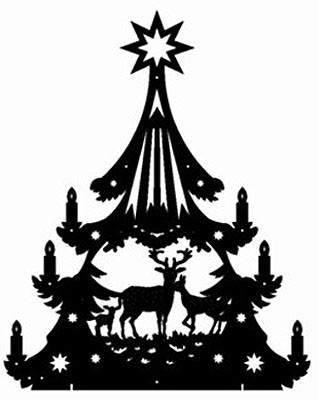 Laubsägevorlage doppelter Lichterbaum Rehe im Wald 1