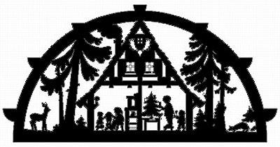 Laubsägevorlage Schwibbogen Waldhaus