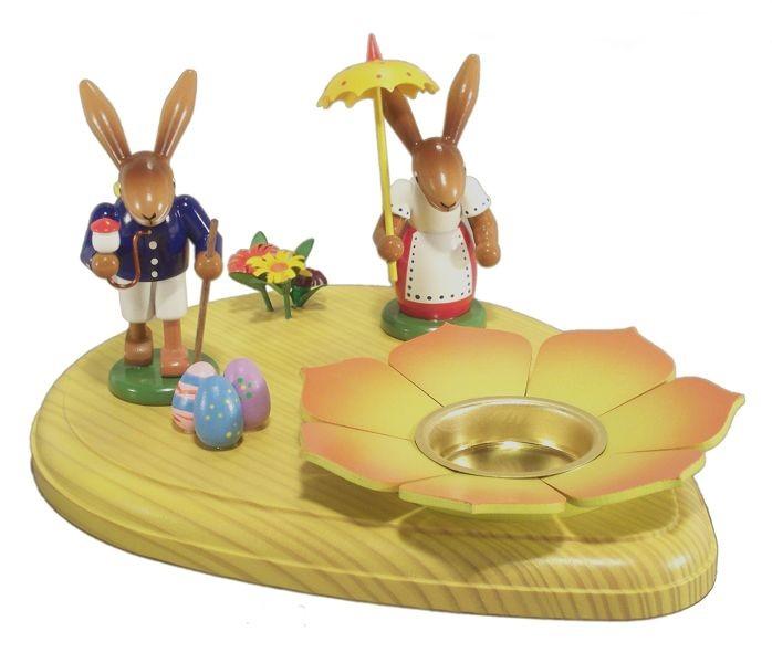 HoDreWa Legler Osterbrett mit Hasen und Teelicht bunt