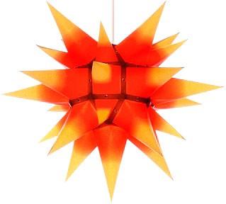 Herrnhuter Stern I4, gelb mit rotem Kern - 40 cm