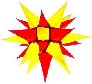 Herrnhuter Stern I4, gelb/rot - 40 cm