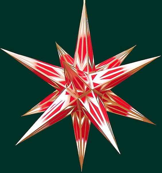 Haßlauer Adventsstern, rot/weiß mit Goldmuster