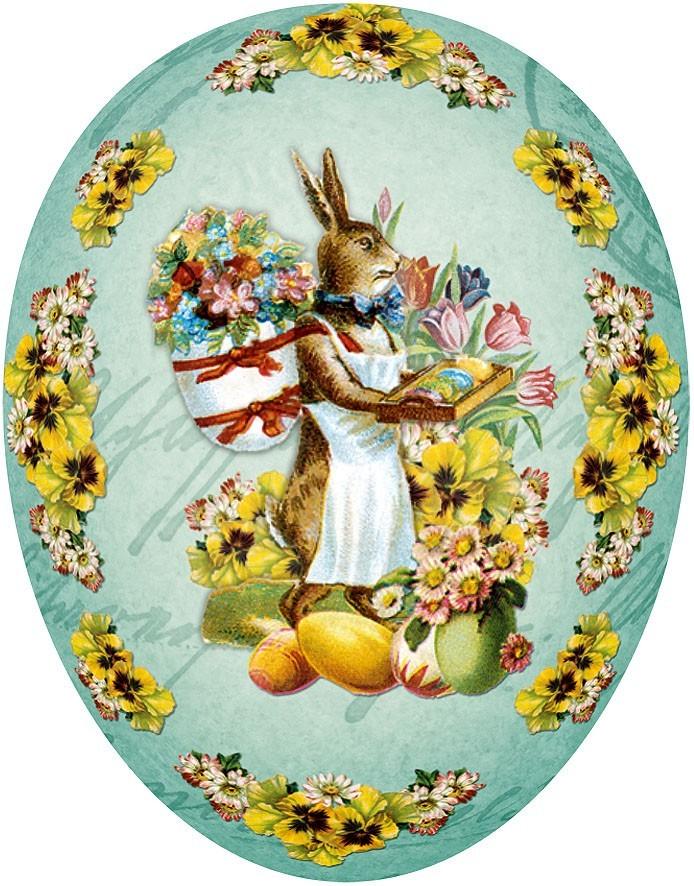 Nestler Osterei Hasenfrau mit Tragekorb, 9 cm