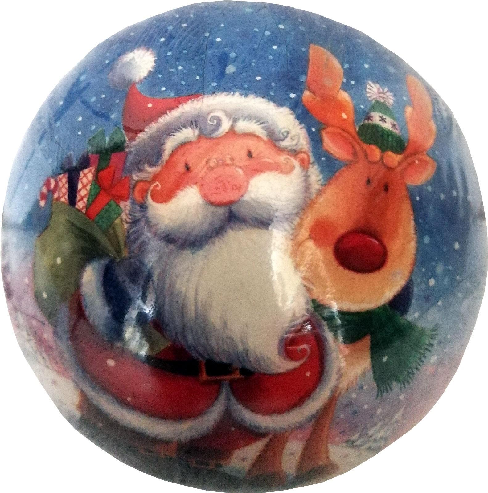 Weihnachtskugeln - Weihnachtsmann mit Rentier