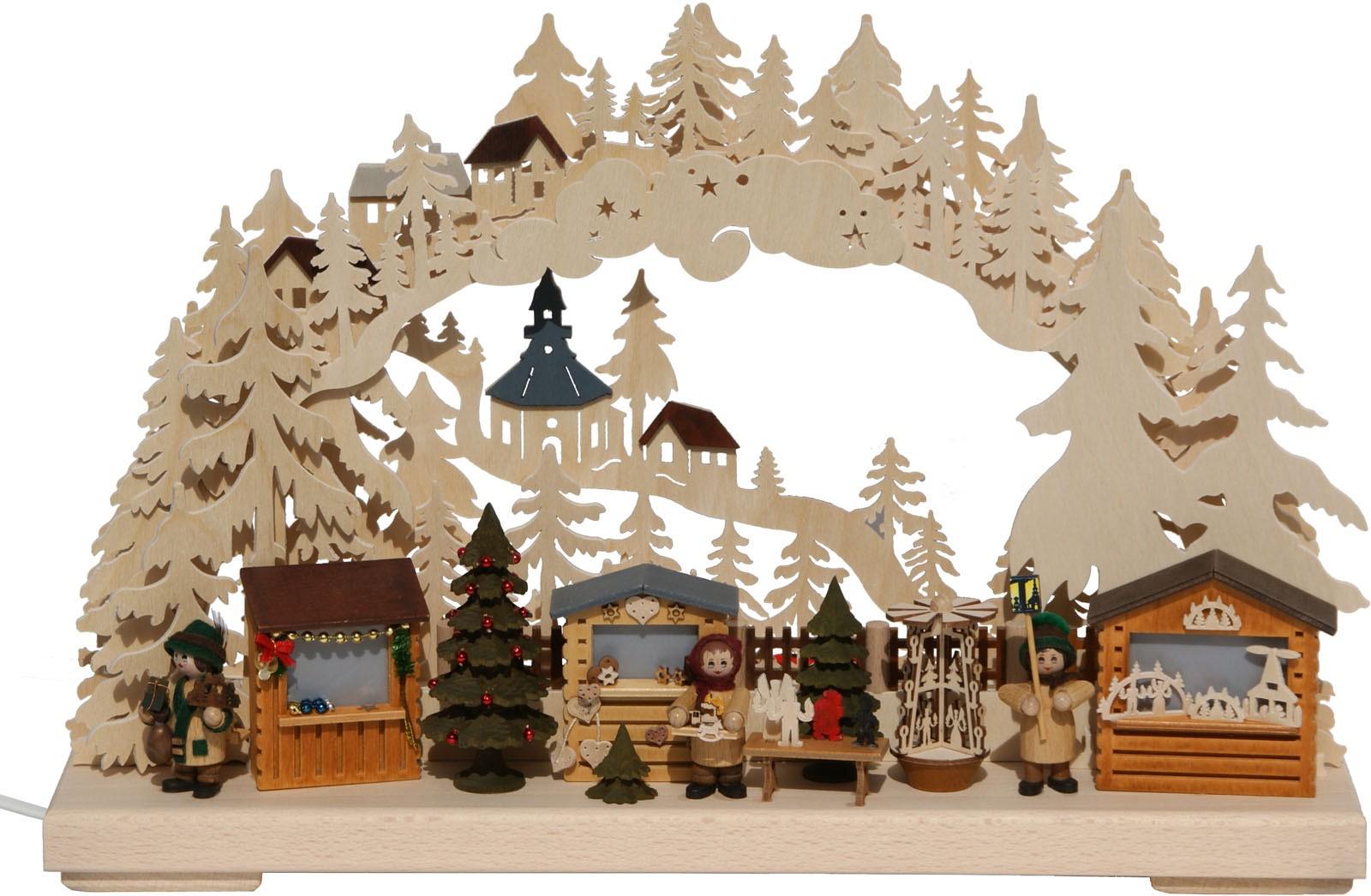 RATAGS Holzdesign 3D-Schwibbogen Seiffener Weihnachtsmarkt, klein