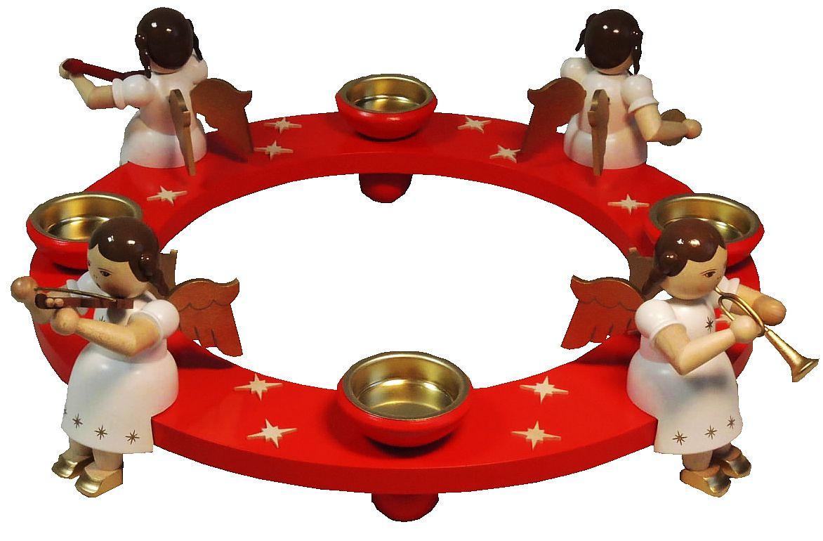 Richard Glässer Tischaufsatz Engelquartett für Teelichte, rot