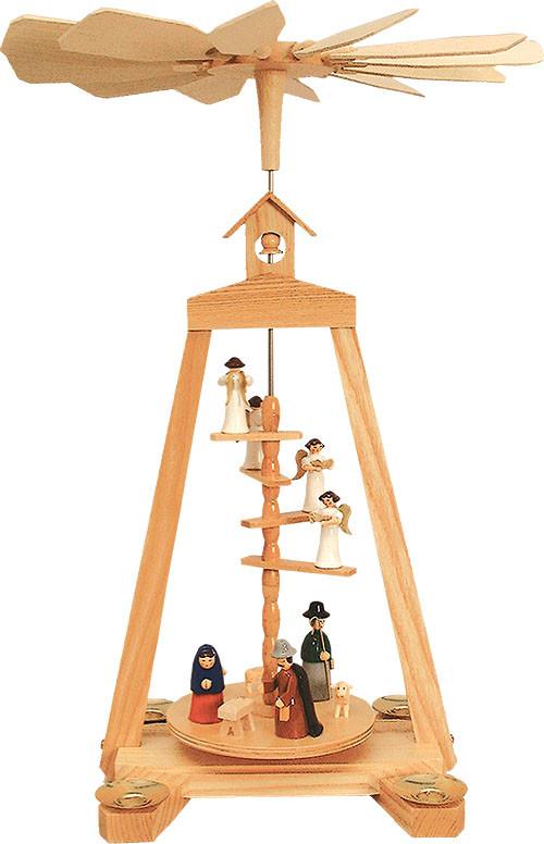 Seiffener Handwerksschau Treppenpyramide Geburt, farbig