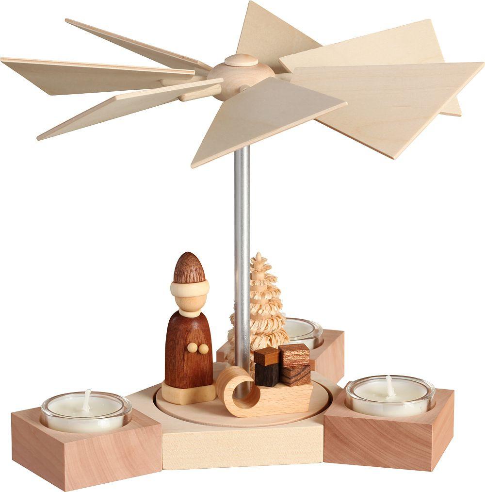 Seiffener Volkskunst eG Pyramide Hexagonum, Weihnachtsmann mit Schlitten, natur