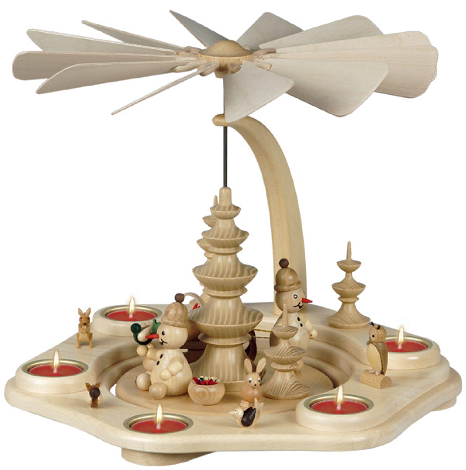 Drechslerei Volkmar Wagner Teelichtpyramide Junior mit Tieren