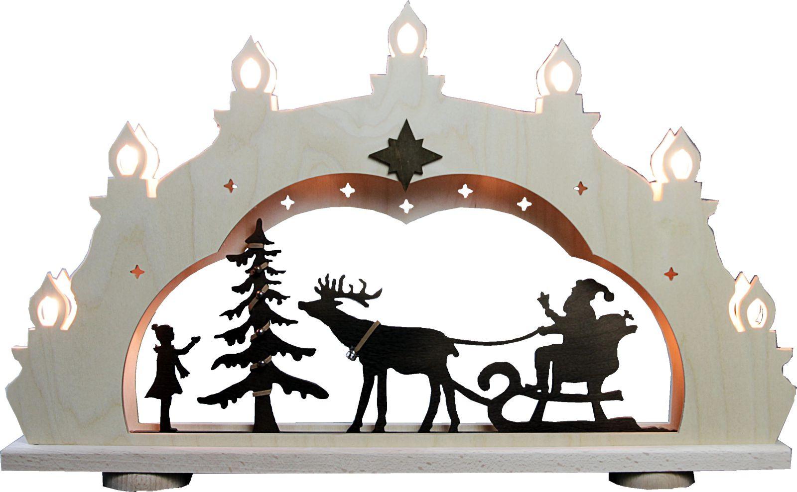 WEIGLA Schwibbogen Weihnachtsmann auf Schlitten, rusikal