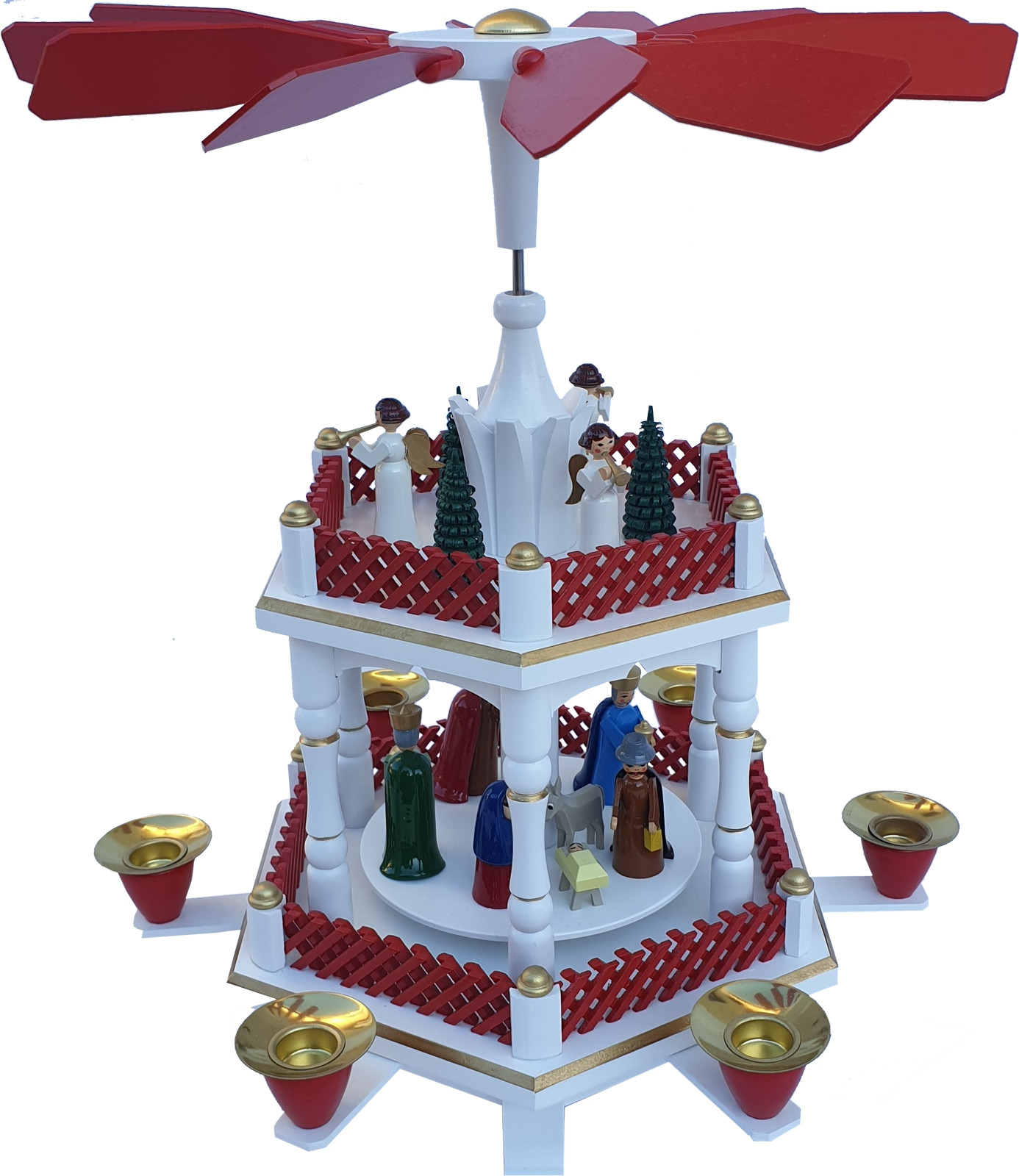 Christmas pyramid white-red birth of Christ