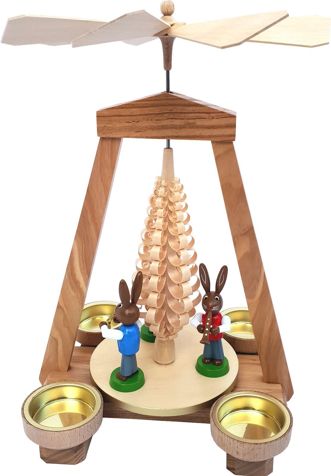 Seiffener Handwerksschau Osterpyramide natur, farbige Hasen