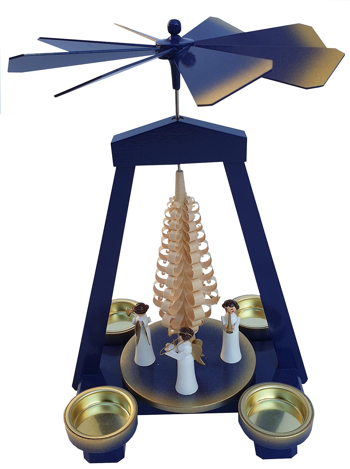 Seiffener Handwerksschau Weihnachtspyramide Engel Instrumente blau