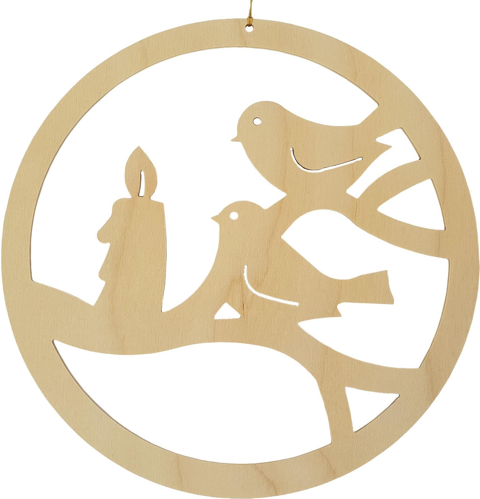 Seiffener Handwerksschau Fensterbild Vögel mit Adventskerze