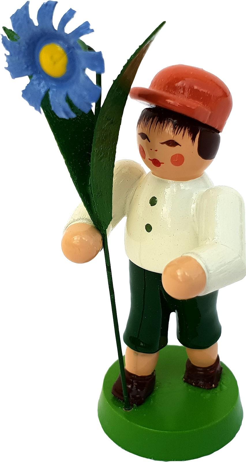 Seiffener Handwerksschau Blumenjunge, hellbraune Mütze