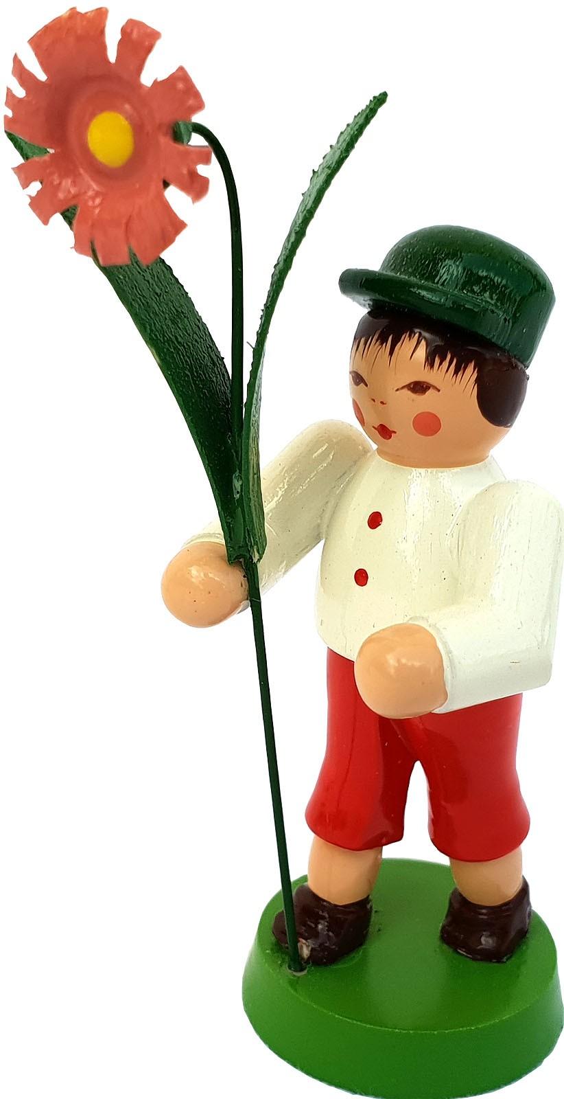 Seiffener Handwerksschau Blumenjunge, grüne Mütze