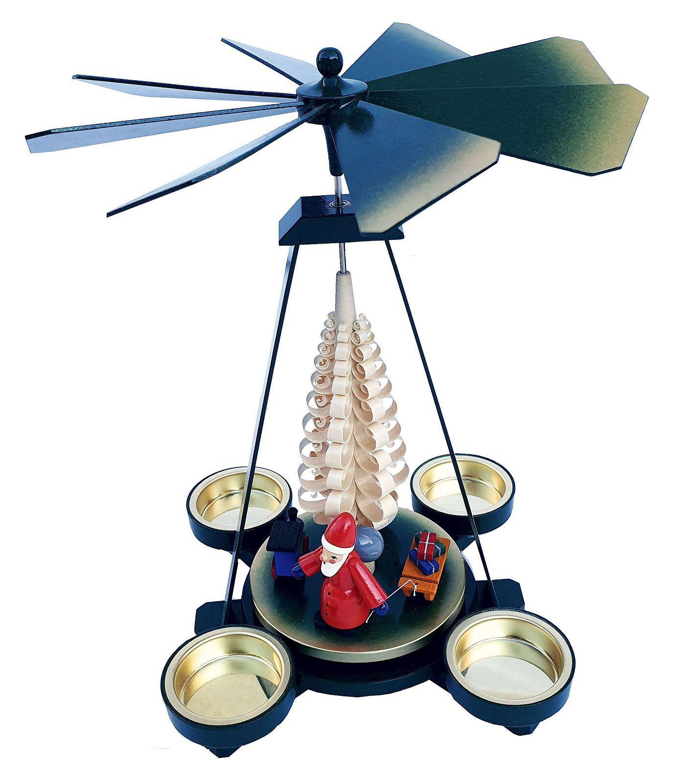 Seiffener Handwerksschau Weihnachtspyramide mit Weihnachtsmann in grün