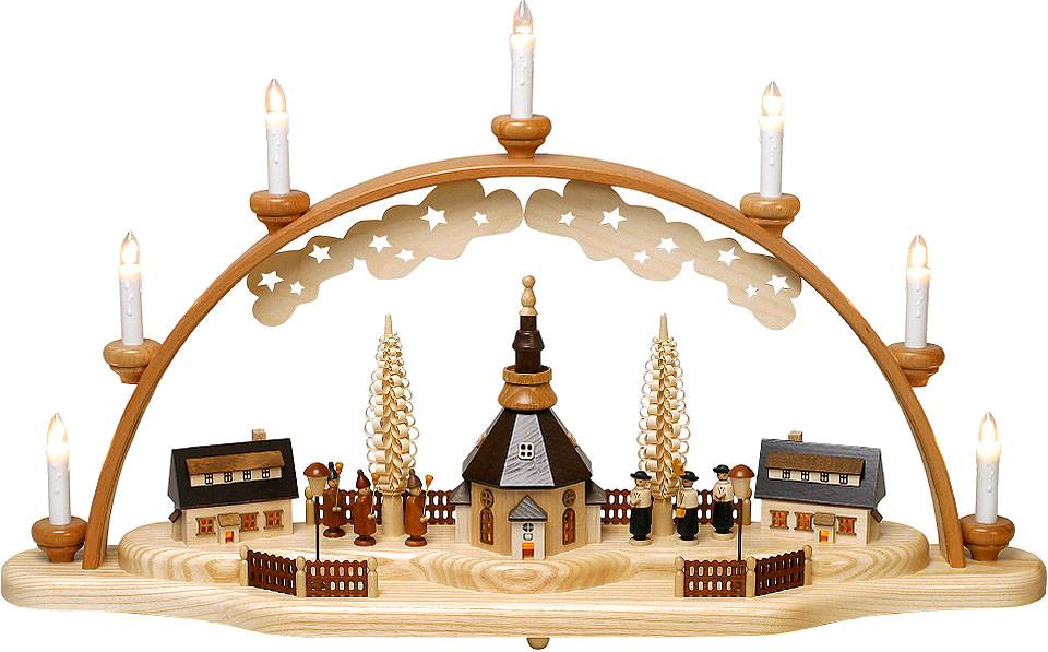 Zeidler Schwibbogen Seiffener Kirche mit Häusern, Kurrende und Laternenkinder