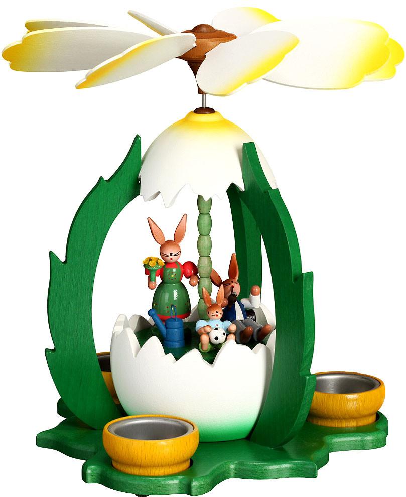 Zeidler Osterpyramide - Hasenfamilie im Ei