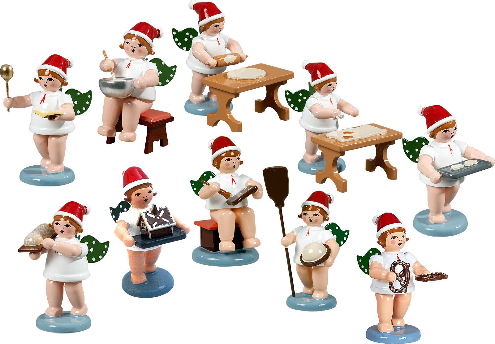 Ellmann Weihnachtsengel, 10-teilig, Weihnachtsbäckerei - mit Mütze