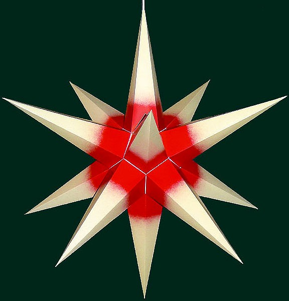 Haßlauer Adventsstern, cremefarben mit rotem Kern