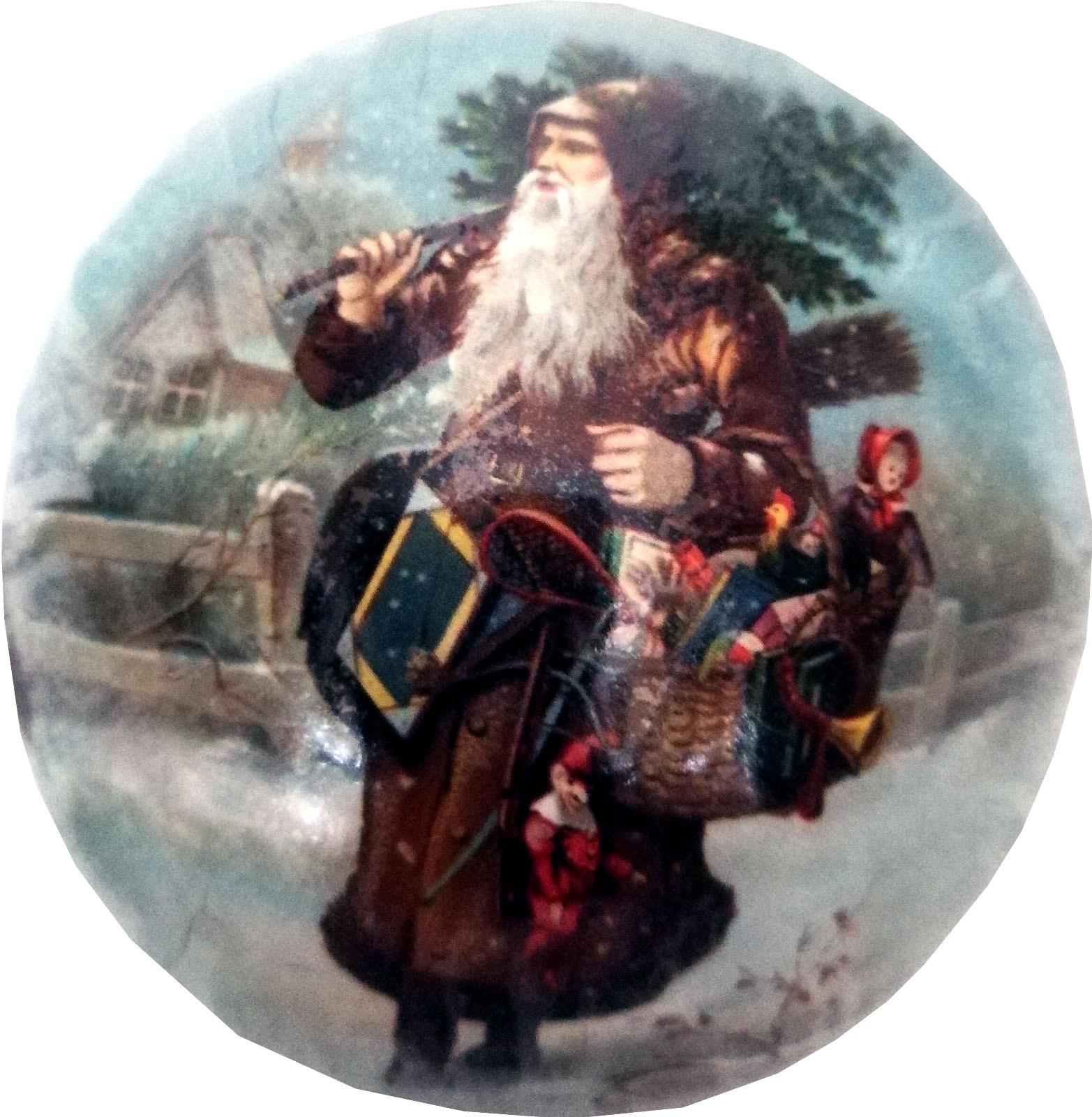 Weihnachtskugeln - Weihnachtsmann mit Baum auf Schulter, 10 cm