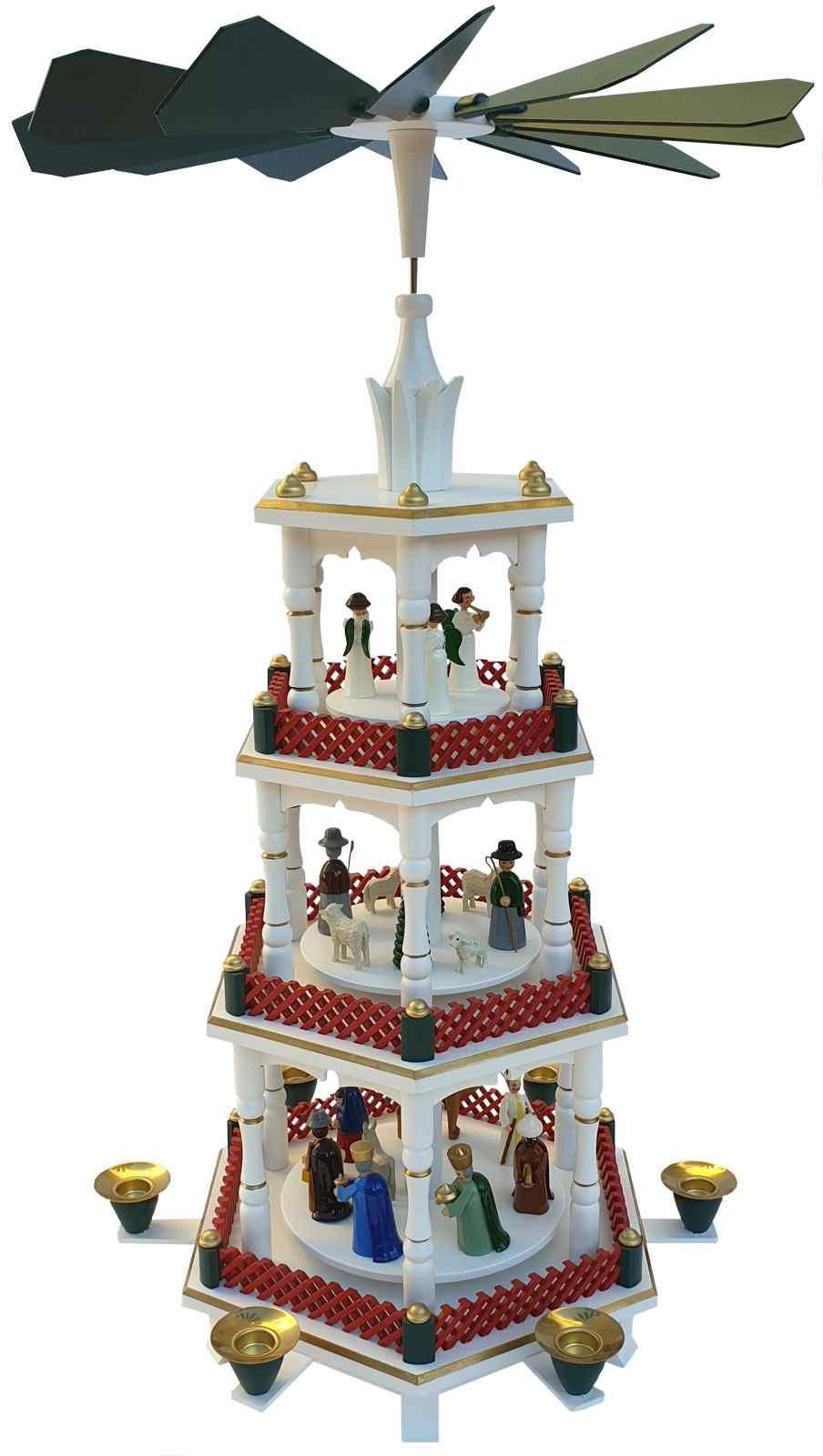 Seiffener Hof Weihnachtspyramide Geburt, grün, rot, 3 Stöckig