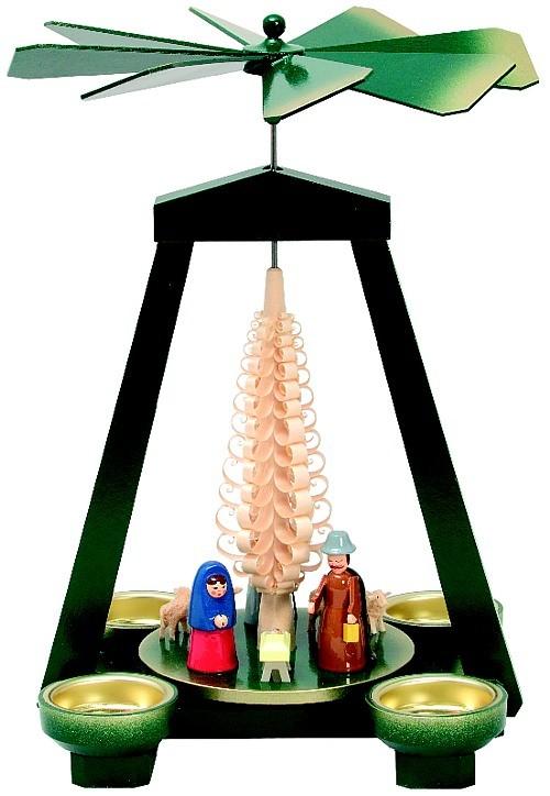 Seiffener Handwerksschau Weihnachtspyramide Geburt, grün