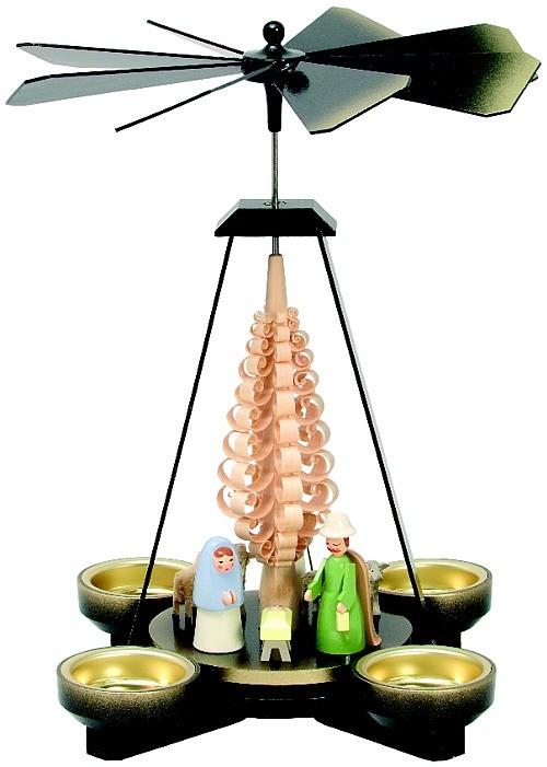 Seiffener Handwerksschau Weihnachtspyramide Geburt, schwarz, Figuren pastell