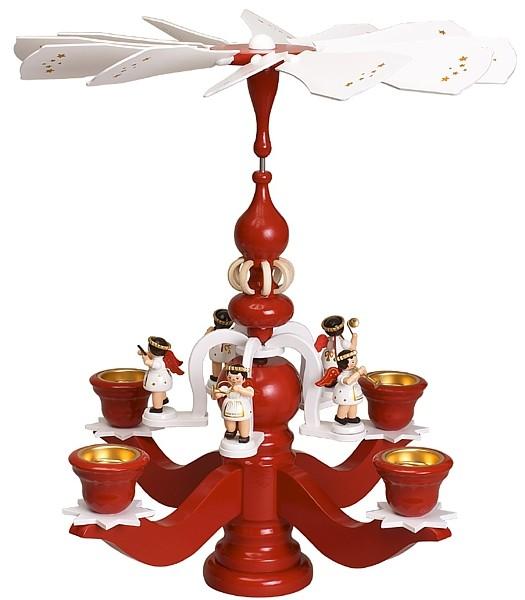 Zeidler Leuchterpyramide, groß, rot, mit 5 weißen Engeln