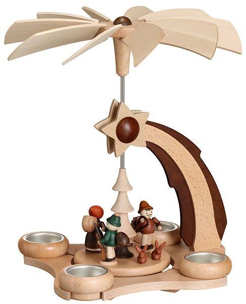Zeidler Pyramide Sternschnuppe mit Waldfiguren für 4 Teelichter