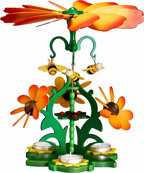 Zeidler Ganzjahres-Teelichtpyramide Blütenzauber - orange